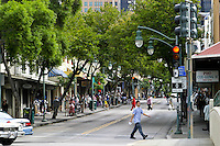 The many storefronts and restaurants located in busy Chinatown, downtown Honolulu, Oahu