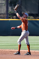 Kody Clemens (2) of the Texas Longhorns at second base during a game against the UCLA Bruins at Jackie Robinson Stadium on March 12, 2016 in Los Angeles, California. UCLA defeated Texas, 5-4. (Larry Goren/Four Seam Images)