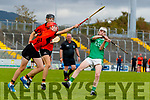 David O'Sullivan, Ballyheigue, in action against Aodhan Curley, Ballyduff, during the Kerry County Minor Hurling Championship Final match between Ballyduff and Ballyheigue at Austin Stack Park in Tralee, Kerry.
