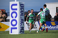Manawatu's Ben Wyness celebrates a try during the Mitre 10 Cup Cup rugby match between Manawatu Turbos and Southland Stags at Manfeild Park in Feilding, New Zealand on Saturday, 1 November 2020. Photo: Dave Lintott / lintottphoto.co.nz