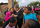 Mar. 13, 2013; Laura Straccia '14 talks with students at the Kliptown Youth Project near Johannesburg, South Africa.  Design students in professor Robert Sedlack's conduct in-person research on design projects aimed at addressing several issues affecting South Africa and Johannesburg.<br /> <br /> Photo by Matt Cashore/University of Notre Dame