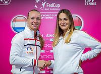 The Hague, The Netherlands, Februari 6, 2020,    Sportcampus, FedCup  Netherlands -  Balarus, Draw, First match on saturday: Kiki Bertens (NED) (L) vs Aryna Sabalenka.<br /> Photo: Tennisimages/Henk Koster