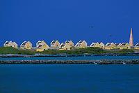 slave huts and red salt marker, Bonaire Netherland Antilles (Dutch ABC Islands) (Caribbean, Atlantic)