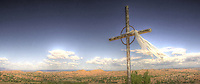 A hilltop cross on the road from Santa Fe to Taos, New Mexico. <br /> This is custom sized - please call before ordering.
