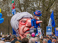 London, UK - March 23 2019: the big mask of Theresa May during the demonstration the people Brexit march for people's vote protest. Photo Adamo Di Loreto/BuenaVista*photo