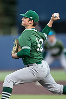 Eastern Michigan Eagles pitcher Luke McGuire (10) delivers a pitch to the plate during the NCAA baseball game against the Michigan Wolverines on May 8, 2019 at Ray Fisher Stadium in Ann Arbor, Michigan. Michigan defeated Eastern Michigan 10-1. (Andrew Woolley/Four Seam Images)