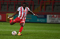 Aramide Oteh of Stevenage FC scores the winning penalty  during Stevenage vs Concord Rangers , Emirates FA Cup Football at the Lamex Stadium on 7th November 2020