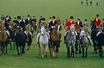 Vale of White Horse fox hunting Master and the hunt ride out 1980s England.