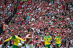 Norwich City 2 Middlesbrough 0, 25/05/2015. Wembley Stadium, Championship Play Off Final. Concerned looking Middlesbrough support watch the action unfold. A match worth £120m to the victors. On the day Norwich City secured an instant return to the Premier League with victory over Middlesbrough in front of 85,656. Photo by Simon Gill.