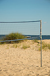 Island View Beach area. Volleyball net, beach and sand.