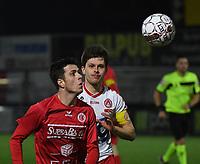 FC GULLEGEM - KV KORTRIJK :<br /> vriendschappelijke wedstrijd<br /> Jarne Jodts (L) en Hannes Van Der bruggen (R)<br /> <br /> Foto VDB / Bart Vandenbroucke