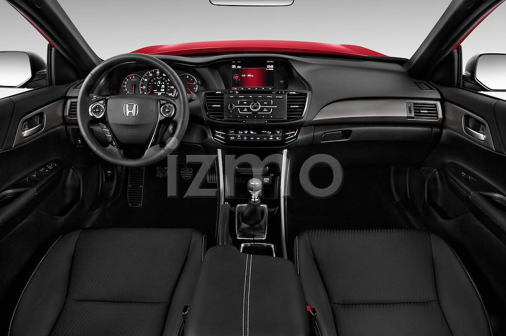 Stock photo of straight dashboard view of 2017 Honda Accord Sport 4 Door Sedan Dashboard