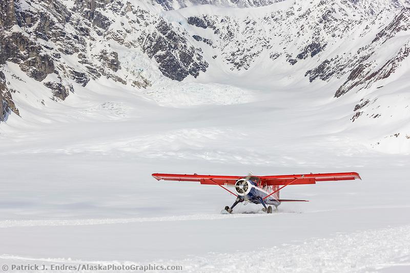 Bush plane on the ruth glacier, Alaska Range mountains, Alaska.