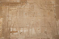 Reliefs on a wall at Edfu temple of Horus which is known for the major Ptolemaic temple built from sandstone blocks between 237 BCE and 57 BCE into the reign of Cleopatra VII. Edfu temple is the second largest one in Egypt after Karnak temple, south of Egypt.