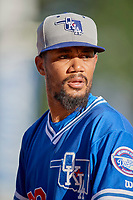 Oklahoma City Dodgers starting pitcher Dennis Santana (23) before the game against the Salt Lake Bees at Smith's Ballpark on August 1, 2019 in Salt Lake City, Utah. The Bees defeated the Dodgers 14-4. (Stephen Smith/Four Seam Images)