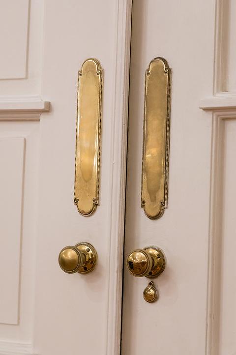 Door handles in the Dining Room.