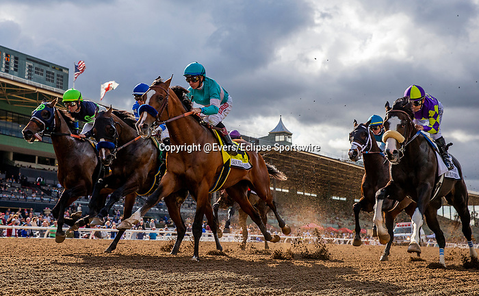 MAR 07: Authentic under Drayden Van Dyke takes the early lead in the San Felipe Stakes  Santa Anita Park in Arcadia, California on March 7, 2020. Evers/Eclipse Sportswire/CSM