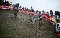 Sven Nys (BEL) running down the slippery descent<br /> <br /> Bpost Bank Trofee - GP Mario De Clerq 2013