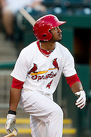 Daryl Jones (4) of the Springfield Cardinals watches his hit go over the left field wall during a game against the Tulsa Drillers at Hammons Field on July 18, 2011 in Springfield, Missouri. Tulsa defeated Springfield 13-8. (David Welker / Four Seam Images)