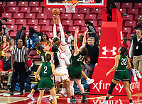 COLLEGE PARK, MD - DECEMBER 8: Shakira Austin #1 of Maryland tosses up a shot during a game between Loyola University and University of Maryland at Xfinity Center on December 8, 2019 in College Park, Maryland.