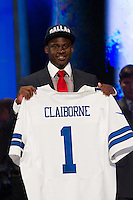The sixth overall pick cornerback Morris Clairborne (Louisiana State)  of the Dallas Cowboys during the first round of the 2012 NFL Draft at Radio City Music Hall in New York, NY, on April 26, 2012.