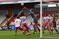 Jamie Cumming of Stevenage F.C. Punches a cross clear during Stevenage vs Salford City, Sky Bet EFL League 2 Football at the Lamex Stadium on 3rd October 2020