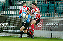 21/10/2006       Copyright Pic: James Stewart.File Name :sct_jspa16_gretna_v_clyde.ALAN MAIN IS TAKEN OUT BY DOUGLAS IMRIE AND CRAIG MCKEOWN ...Payments to :.James Stewart Photo Agency 19 Carronlea Drive, Falkirk. FK2 8DN      Vat Reg No. 607 6932 25.Office     : +44 (0)1324 570906     .Mobile   : +44 (0)7721 416997.Fax         : +44 (0)1324 570906.E-mail  :  jim@jspa.co.uk.If you require further information then contact Jim Stewart on any of the numbers above.........
