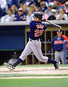 CIRCA 1997: Jim Thome #25 of the Cleveland Indians at bat during a game from his 1997 season with the Cleveland Indians. Jim Thome played 22 seasons, with 6 different teams, was a 5-time All-Star and was inducted to the Baseball Hall of Fame in 2018  (Photo by: 1997 SportPics)  *** Local Caption *** Jim Thome