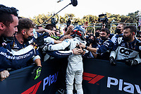 GASLY Pierre (fra), Scuderia AlphaTauri Honda AT02, celebrates his P3 during the Formula 1 Azerbaijan Grand Prix 2021 from June 04 to 06, 2021 on the Baku City Circuit, in Baku, Azerbaijan -<br /> FORMULA 1 : Grand Prix Azerbaijan <br /> 06/06/2021 <br /> Photo DPPI/Panoramic/Insidefoto <br /> ITALY ONLY