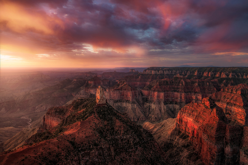 Point Imperial glowing  at sunrise. North Rim, Grand Canyon National Park, AZ