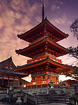 Sanjunoto pagoda, Kiyomizu-dera Buddhist temple in Kyoto. Traditional Japanese architecture. Beautiful dramatic sunrise scenery. Kyoto, Japan 2017. Image © MaximImages, License at https://www.maximimages.com