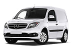 Stock pictures of low aggressive front three quarter view of 2019 Mercedes Benz Citan Perfect-Tool 5 Door Car Van Low Aggressive