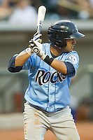 Christian Colon #12 of the Wilmington Blue Rocks at bat against the Winston-Salem Dash at  BB&T Ballpark August 4, 2010, in Winston-Salem, North Carolina.  Photo by Brian Westerholt / Four Seam Images