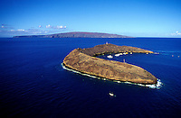 Aerial of Molokini Island, a crescent shaped atoll in Maalaea Bay, off the south coast of Maui