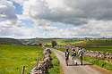 Walkers near the village of Alstonfield, approaching the Manifold Valley. Peak District National Park, UK. May.
