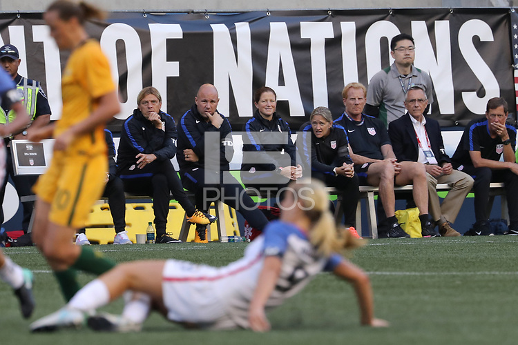 Seattle, WA - Thursday July 27, 2017: USWNT Coaches during a 2017 Tournament of Nations match between the women's national teams of the United States (USA) and Australia (AUS) at CenturyLink Field.