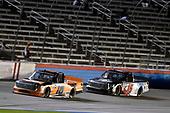 #16: Austin Hill, Hattori Racing Enterprises, Toyota Tundra Ennis Steel and #15: Anthony Alfredo, DGR-Crosley, Toyota Tundra STEELSMITH