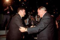 Montreal (Qc) CANADA - 1995 File Photo - April 1995 - Bloc Quebecois convention,Lucien Bouchard (L) and PQ Leader Jacques Parizeau (R)