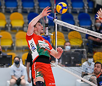 Belgian Pieter Verhees of Maaseik  pictured during a Volleyball game between Knack Volley Roeselare and Greenyard Maaseik , the third game in a best of five in the play offs in the 2020-2021 season , saturday 10 th April 2020 at the Schiervelde international Sportshall in Roeselare  , Belgium  .  PHOTO SPORTPIX.BE   DAVID CATRY