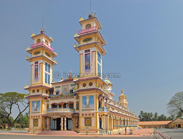 Asia, Vietnam, Tay Ninh nr. Ho Chi Minh City (Saigon). Cao Dai Holy See in Tay Ninh. Cao Dai Great Divine Temple (built 1933-1955).