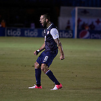 Clint Dempsey celebrates scoring his goal as the United States played Guatemala at Estadio Mateo Flores in Guatemala City, Guatemala in a World Cup Qualifier on Tue. June 12, 2012.
