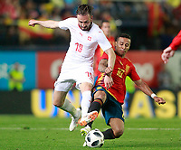 Spain's Thiago Alcantara (r) and Switzerland's Josip Drmic during international friendly match. June 3,2018.(ALTERPHOTOS/Acero)