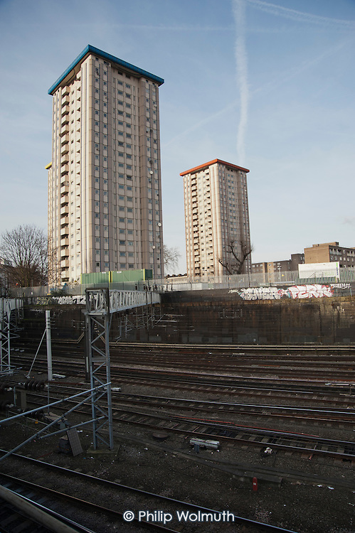 Gillfoot, one of three 21-storey skyscrapers that make up Camden Council's Ampthill Square estate, is threatened with demolition by proposed construction work on the HS2 London-Birmingham high speed railway development.