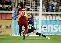 San Jose, CA - Sunday November 12, 2017: Alex Morgan, Stephanie Labbe during an International friendly match between the Women's National teams of the United States (USA) and Canada (CAN) at Avaya Stadium.