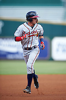 Mississippi Braves shortstop Dansby Swanson (36) running the bases during a game against the Jacksonville Suns on May 1, 2016 at The Baseball Grounds in Jacksonville, Florida.  Jacksonville defeated Mississippi 3-1.  (Mike Janes/Four Seam Images)