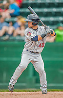 9 July 2015: Mahoning Valley Scrappers outfielder Ka'ai Tom in action against the Vermont Lake Monsters at Centennial Field in Burlington, Vermont. The Scrappers defeated the Lake Monsters 8-4 in 12 innings of NY Penn League play. Mandatory Credit: Ed Wolfstein Photo *** RAW Image File Available ****
