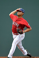 Pitcher Hildemaro Requena (20) of the Greenville Drive delivers a pitch in a game against the Lexington Legends on Friday, June 30, 2017, at Fluor Field at the West End in Greenville, South Carolina. Lexington won, 17-7. (Tom Priddy/Four Seam Images)
