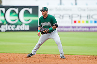 Augusta GreenJackets second baseman Alberto Robles (1) on defense against the Greensboro Grasshoppers at NewBridge Bank Park on August 11, 2013 in Greensboro, North Carolina.  The GreenJackets defeated the Grasshoppers 6-5 in game one of a double-header.  (Brian Westerholt/Four Seam Images)