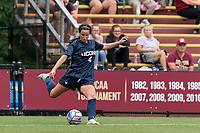 NEWTON, MA - AUGUST 29: Lucy Cappadona #4 of University of Connecticut passes the ball during a game between University of Connecticut and Boston College at Newton Campus Soccer Field on August 29, 2021 in Newton, Massachusetts.