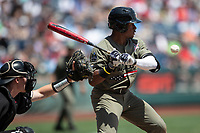 Vanderbilt Commodores second baseman Harrison Ray (2) at bat during Game 3 of the NCAA College World Series against the Louisville Cardinals on June 16, 2019 at TD Ameritrade Park in Omaha, Nebraska. Vanderbilt defeated Louisville 3-1. (Andrew Woolley/Four Seam Images)
